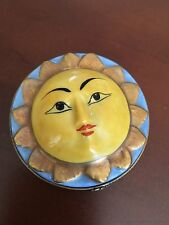 Vintage LIMOGES Peint Main Sun Sunflower Trinket Box-Excellent