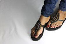Sandales Hand Crafted Leather Beaded Bird's Eye Femme Sandales envoi gratuit