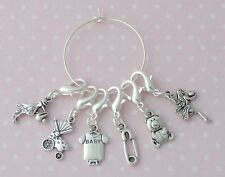 Pack of 6 Knitting Crochet Clip on Stitch Wool Markers Baby Shower Theme Charms