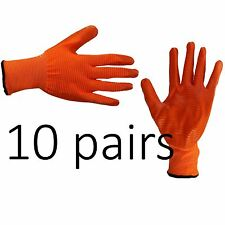 10 X Safety Work Gloves Latex Coated Liner Non Slip Grip Builders Repair Size M