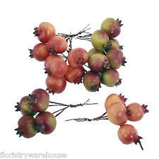 Artificial Autumn fruit Pomegranate (x24) 3cm dia on wire picks craft decoration