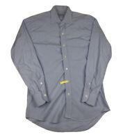 LEDBURY White Blue Gingham Button Front Long Sleeve Mens Size 15.5 / 39