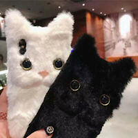 3D Lovely Cat Ear Fur Soft Plush Fluffy Furry Case Cover For iPhone Xs Max X 6 7