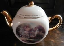 """Collectible Thomas Kinkade """"Home is Where the Heart Is"""" Teapot Gold Trim"""