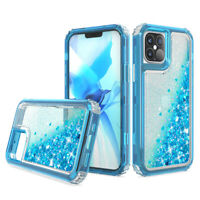 For iPhone 12 Pro Max Mini Case Clear Liquid Bling Glitter Shockproof Slim Cover