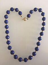 14K Gold Natural Lapis Lazuli 10mm Beads Necklace