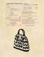 Louis Vuitton Handbag Official US Patent Art Print- Purse Boutique Art -638