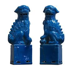 "Cute Turqoise Porcelain Foo Dog Figurine 15"""