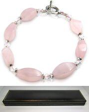 Real pink rose quartz natural gem stone ladies bracelet in black gift box