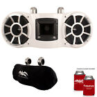 Wet Sounds REV 410 Fixed Clamp Tower Speakers with Wet Sounds Suitz Covers WHITE