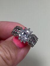 Victoria Wieck 10KT white gold filled sapphire diamonique ring size 10