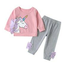 Toddler Kids Baby Girls Unicorn Clothes Pullover Sweatshirt Tops + Pants Outfits