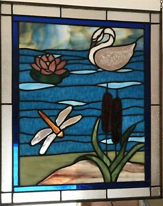 stained glass window - Dragonfly And Swan