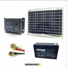 Kit fotovoltaico con pannello solare 10W batteria 7Ah 12V e cavi PVC