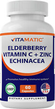 Elderberry Sambucus Nigra - Zinc - Vitamin C - Echinacea Extract - 60 Capsules