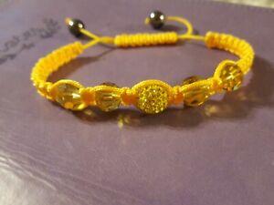 Yellow Crystal Charm Bracelet Hematite Beads Adj. Hand Braided Bracelet/#772