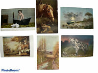 Early 1900 Lot of 6 German & English Art Postcards - Unique Hyena, Paintings