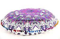 Indien Plume Mandala Imprimé Coussin Sol Rond Pom Dentelle Ottomane Poufs