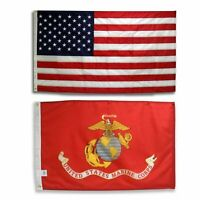 Wholesale 2 Flags United States Marine Corps Flag 3 x 5 USMC And American USA