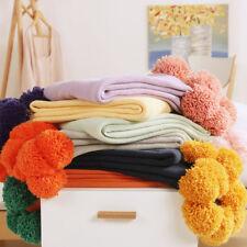 Soft Reversible Pom Pom Knitted Cotton Throw Crochet Blanket Rug Bed Sofa Home