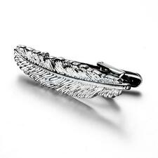Novelty Metal Feather Design Silver Tone Necktie Tie Bar Clasp Clip Pin