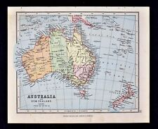 1889 Hughes Map - Australia & New Zealand - Sydney Melbourne Wellington Aukland