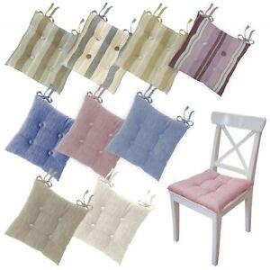 Set 4 o 6 cuscini sedia cucina coprisedia trapuntati con laccetti mod. MADDALENA