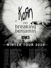 KORN and Breaking Benjamin concert poster, Winter tour 2020 / North America