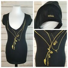 Talula Aritzia XS Black Fitted Cap Sleeve Top Gold Chains & Charms Graphic Print