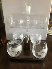 NEW! Wine Savant Ship Sailing Whiskey Decanter w/ 4 World Globe Glasses & Stand