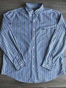 Men's Vintage Ralph Lauren Chaps Long Sleeve Striped Cotton Polyester Shirt XL