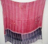 Vintage 80s Red Hand Dyed Long Rectangular Pashmina Neck Scarf Wrap 102cm x178cm
