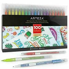 Arteza TwiMarkers, Set of 100 Colors, Dual Tip Sketch Markers, with Fine & Brush