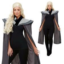 Ladies Medieval Thrones Grey Dragon Cape Queen Cosplay Fancy Dress Accessory UK