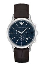 Emporio Armani Classic AR2494 Navy Blue/Brown Leather Analog Quartz Men's Watch