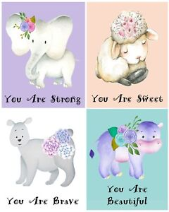 """Nursery art 4 animal prints, 8x10"""" nursery wall art, animal nursery art,"""
