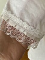 Women's Short Sleeve Round Neck Tee Lace Trim Ribbon White Small NEW