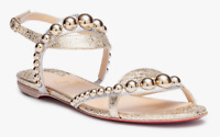 CHRISTIAN LOUBOUTIN Galeria Flat Gold Specchio Strappy Studded Ankle Sandal 36.5