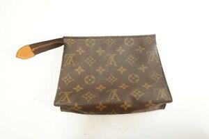Authentic Louis Vuitton Monogram Toiletry Pouch Accessories Brown Bag #10030