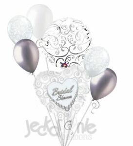 7 pc Bridal Shower Silver Swirls & White Pearls Balloon Bouquet Party Decoration