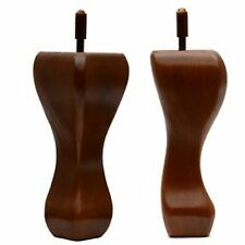 "Set of 4 Legs sofa chair stool Queen Anne leg 6"" bolt walnut finish new"