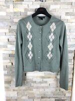 MNG Suit Mango Ladies Size L 12-14 UK 100% Wool Light Green Mint Cardigan Jumper