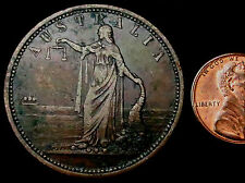 R209: 1850's ceelong, Australia Grande Rame PENNY: R. PARKER, IRONMONGER