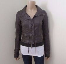 Hollister Womens Faux Leather Jacket Size XS Brown Cropped Button & Zip Up