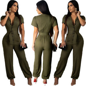 New Women's Short Sleeve Single-Breasted Solid Color Casual Jumpsuit with Belt