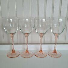 More details for set of four vintage pink stem wine glasses - free p&p included