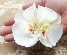 Rockabilly Novia 50 S Pin Up Ivory Crema Pelo Peine Fascinator de la flor de la orquídea