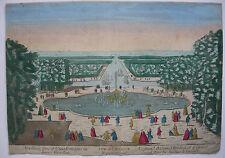 Vue d'optique Guckkastenblatt Versailles Bassin d'Apollon Orig Kupferstich 1760