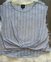 Anthropologie W5 XL Top Blue White Vertical Striped Twist Knot Front Sleeveless