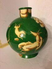 "Gio Ponti for Ginori. Green Venatoria ceramic vase.Signed 1151-370 13"" eames era"